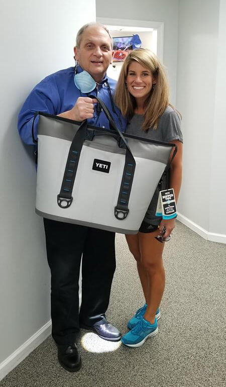 winning the Yeti Hopper Cooler